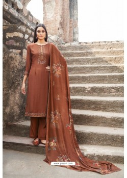 Brown Muslin Party Wear Designer Suit