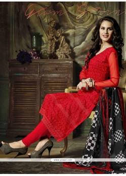 Competent Resham Work Red Georgette Churidar Salwar Kameez