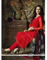 Competent Resham Work Red Georgette Churidar Salwar Kameez