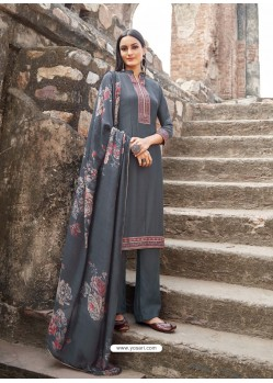 Grey Muslin Party Wear Designer Suit