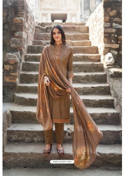 Camel Muslin Party Wear Designer Suit