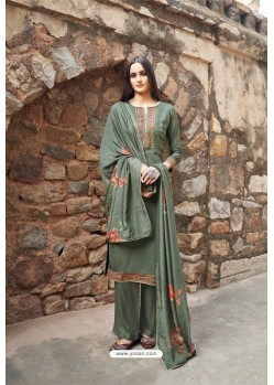 Grayish Green Muslin Party Wear Designer Suit