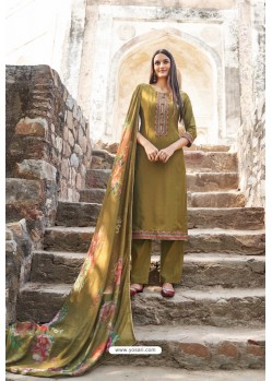 Mehendi Muslin Party Wear Designer Suit