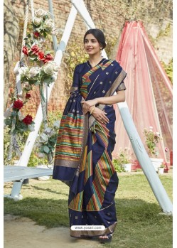 Navy Blue Designer Classic Wear Weaving Zari Silk Saree