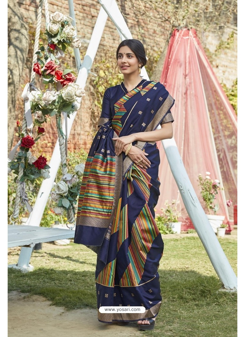 Navy Blue Designer Classic Wear Weaving Zari Silk Saree