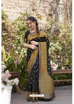 Black Designer Classic Wear Weaving Zari Silk Saree
