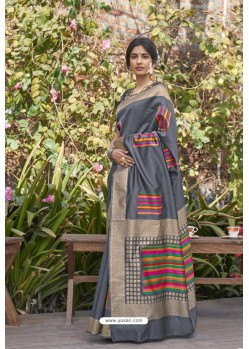 Grey Designer Classic Wear Weaving Zari Silk Saree
