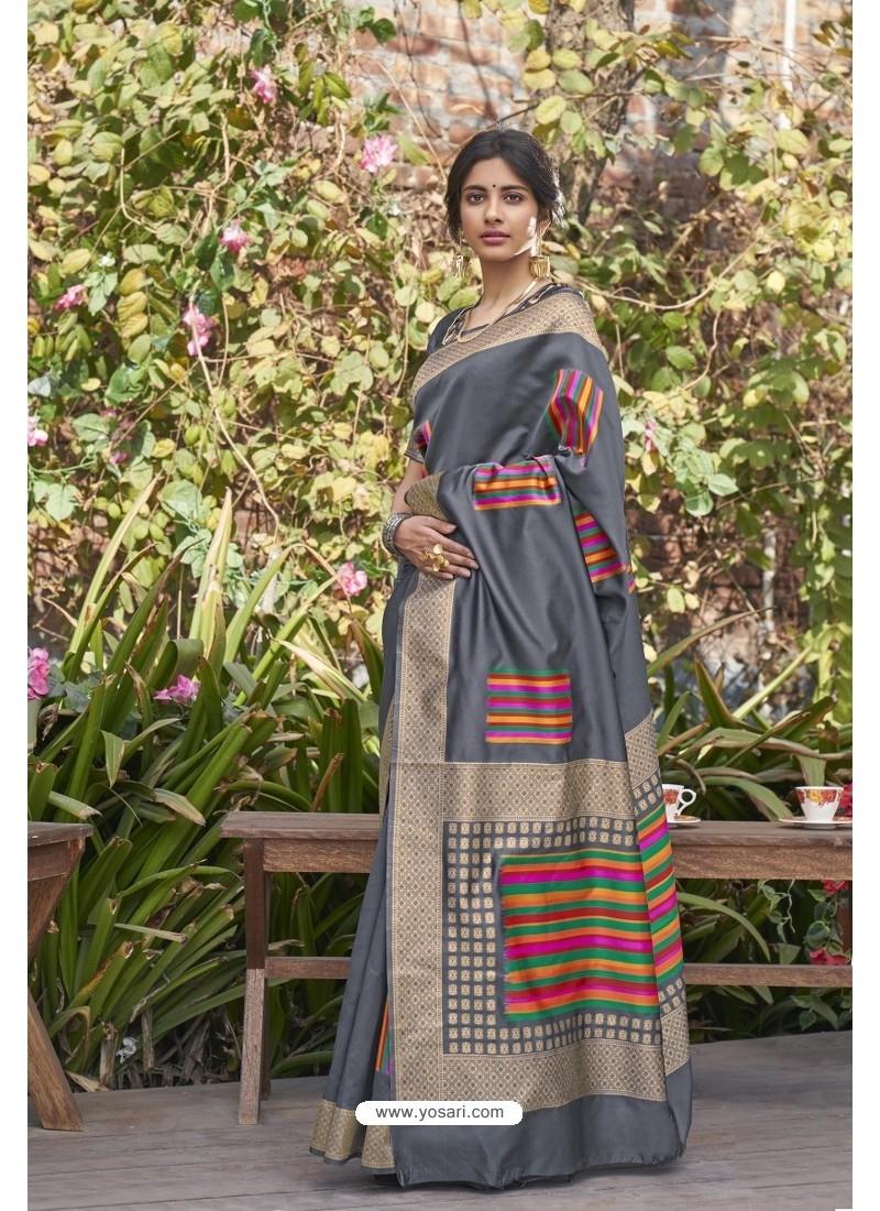 Grey Designer Classic Wear Weaving Zari Silk Saree