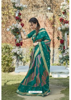 Teal Green Designer Classic Wear Weaving Zari Silk Saree