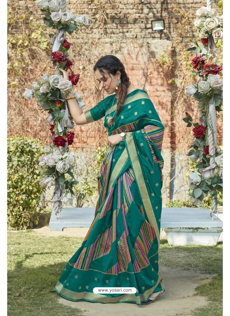 Teal Green Designer Classic Wear Weaving Zari Silk Saree