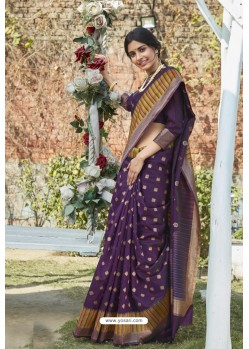 Purple Designer Classic Wear Weaving Zari Silk Saree