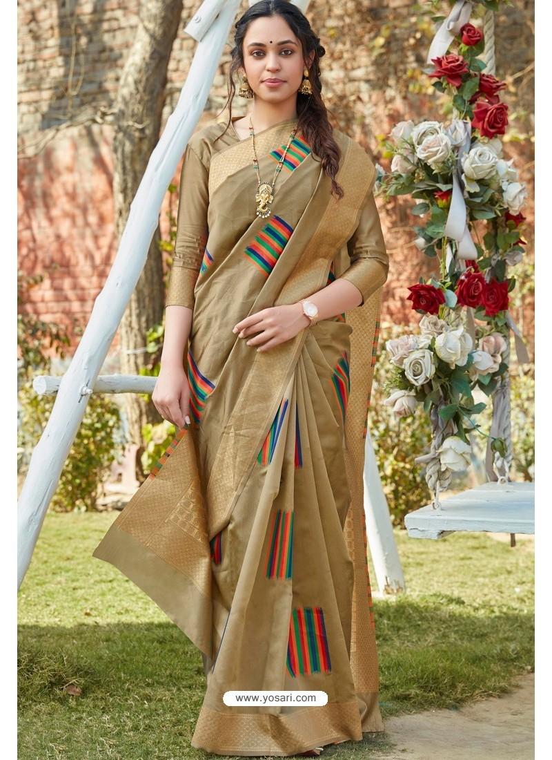 Beige Designer Classic Wear Weaving Zari Silk Saree