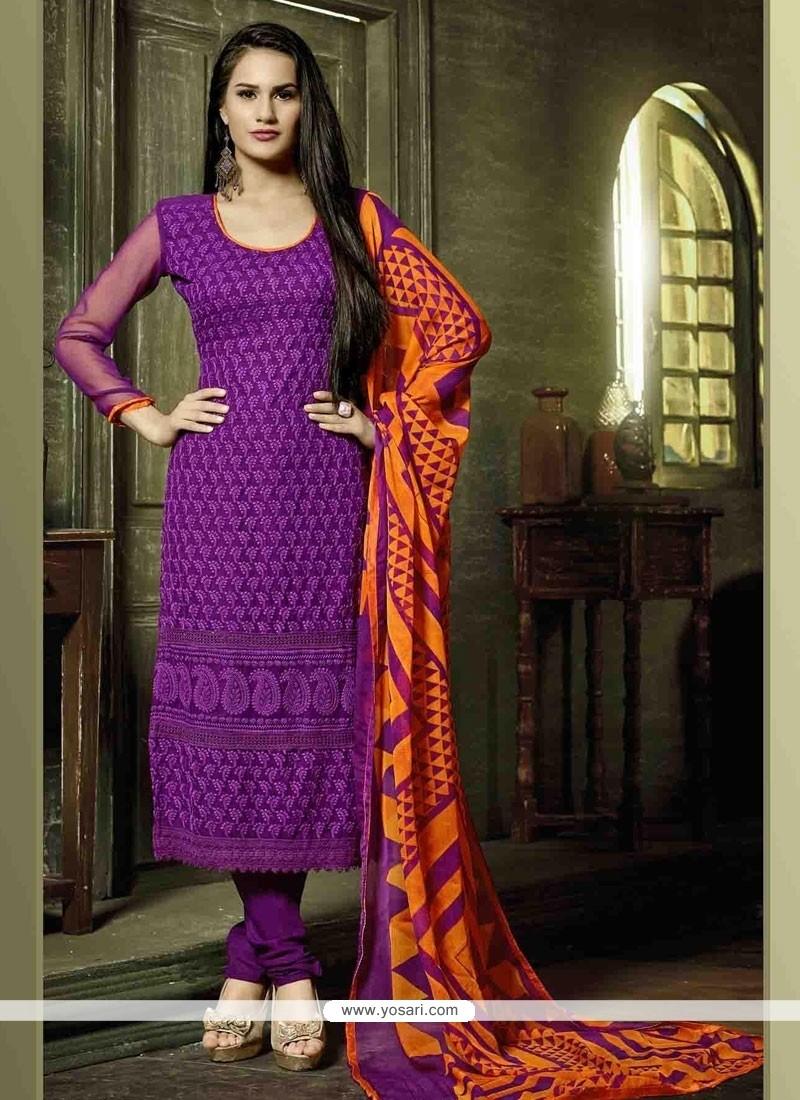 Glossy Embroidered Work Churidar Designer Suit