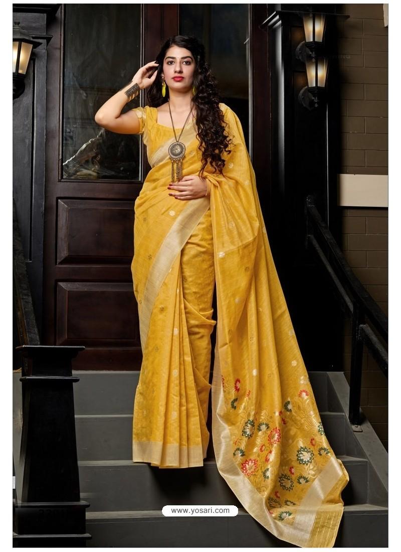 Yellow Designer Party Wear Silk Saree