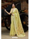 Light Yellow Designer Party Wear Silk Saree