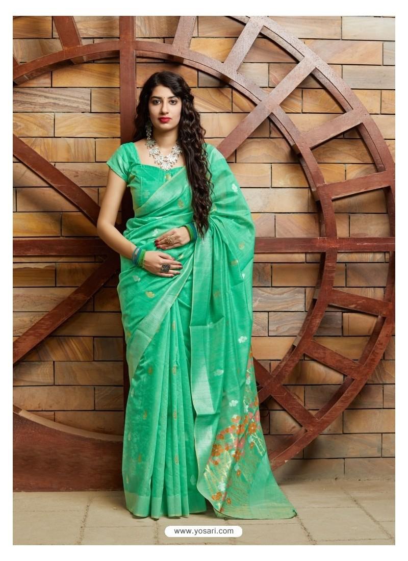 Aqua Mint Designer Party Wear Silk Saree