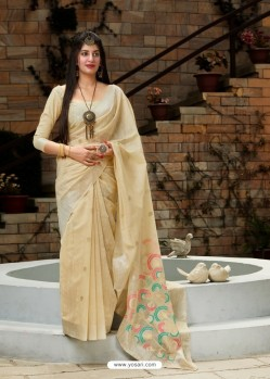 Cream Designer Party Wear Silk Saree