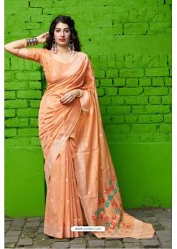 Peach Designer Party Wear Silk Saree