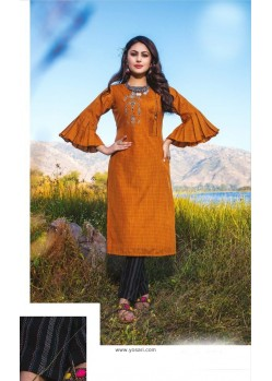 Orange Casual Wear Readymade Kurti With Bottom