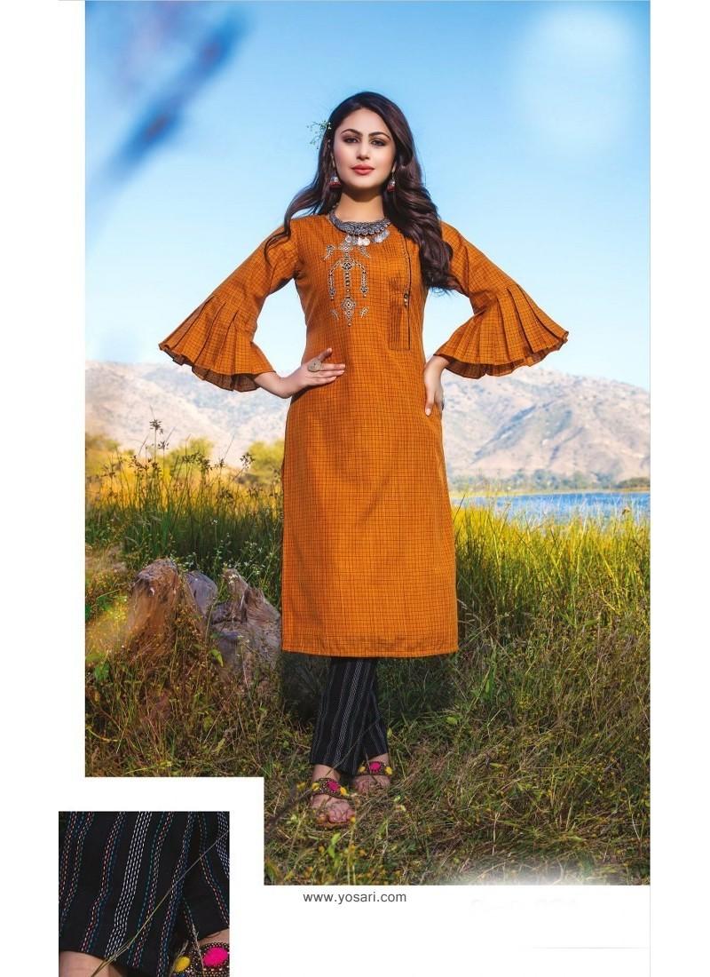Orange Casual Wear Readymade Kurti With Bottom