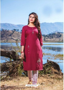 Medium Violet Casual Wear Readymade Kurti With Bottom