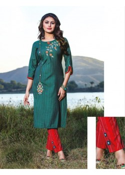 Dark Green Casual Wear Readymade Kurti With Bottom