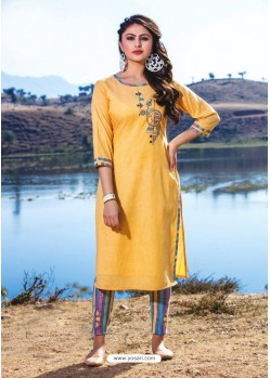 Yellow Casual Wear Readymade Kurti With Bottom