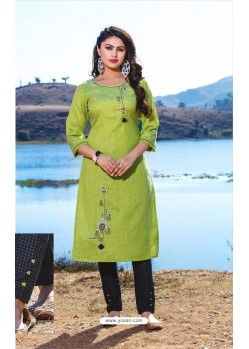 Green Casual Wear Readymade Kurti With Bottom
