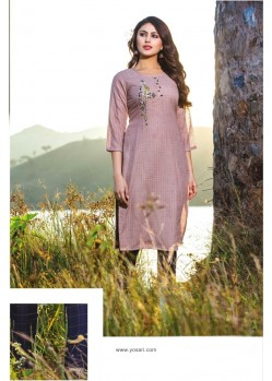 Mauve Casual Wear Readymade Kurti With Bottom