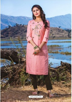 Pink Casual Wear Readymade Kurti With Bottom