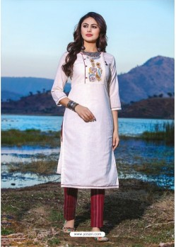 White Casual Wear Readymade Kurti With Bottom