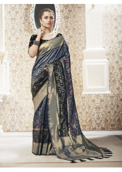 Grey Designer Party Wear Banarasi Pure Silk Saree