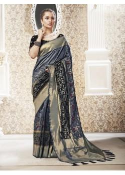 Grey Designer Party Wear Banarasi Pure Silk Saree