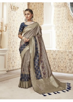 Beige Designer Party Wear Banarasi Pure Silk Saree