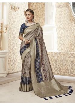 Beige Designer Party Wear Banarasi Pure Silk Saree