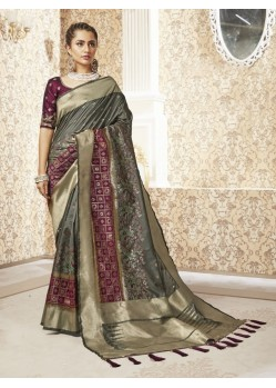 Taupe Designer Party Wear Banarasi Pure Silk Saree