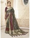 Taupe Designer Party Wear Banarasi Pure Silk Saree