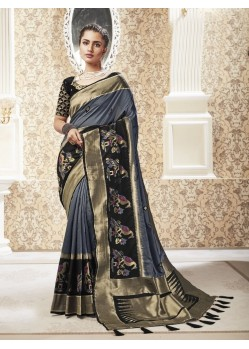 Grey Party Wear Banarasi Pure Silk Saree