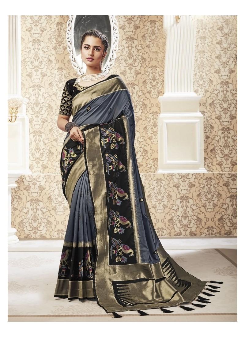 Grey Party Wear Banarasi Pure Silk Saree