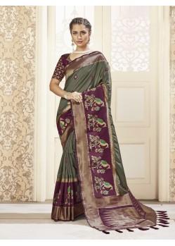 Multi Colour Designer Party Wear Banarasi Pure Silk Saree