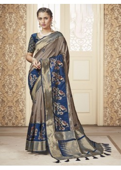 Beige Party Wear Banarasi Pure Silk Saree