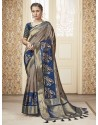 Beige Party Wear Banarasi Pure Silk Saree