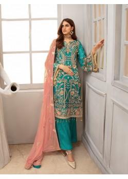 Turquoise Georgette Designer Pakistani Style Salwar Suit