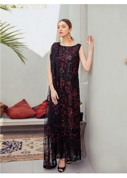 Black Net Embroidered Designer Pakistani Style Suit