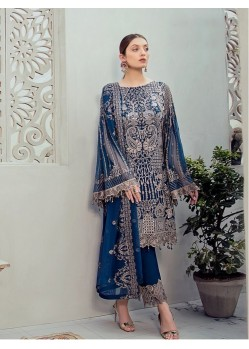 Peacock Blue Georgette Embroidered Designer Pakistani Style Suit