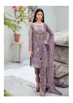 Lavender Georgette Embroidered Designer Pakistani Style Suit