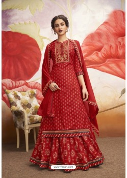 Red Latest Designer Heavy Rayon Suit