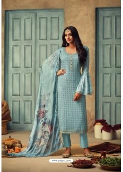 Sky Blue Pure Chinnon Designer Straight Suit