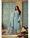 Sky Blue Pure Chinnon Designer Straight Suit