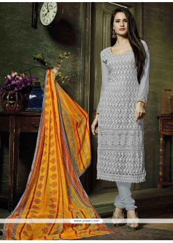 Sophisticated Resham Work Grey Georgette Churidar Designer Suit